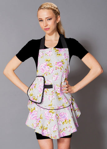 Purple Floral Polka Dot Mary Jean Apron