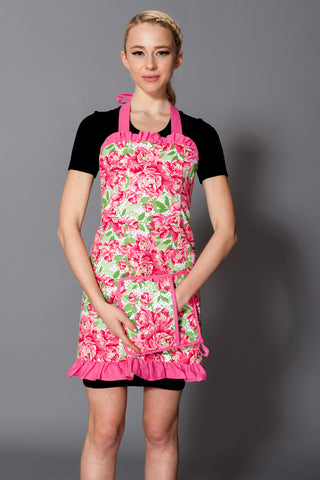 Pink Bloom Dots Allie Apron