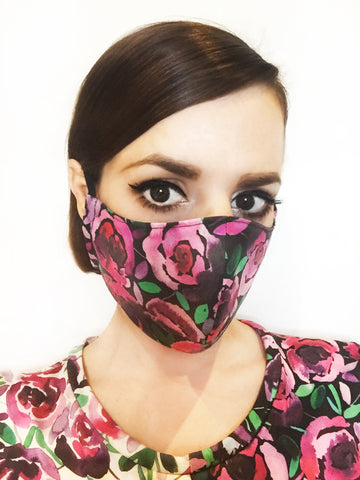 Black Floral Face Mask with Filter Pocket
