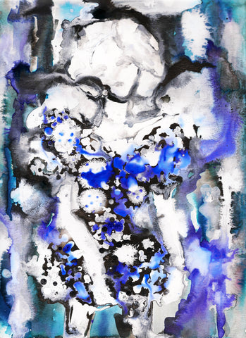 Blue Couture Watercolor Painting