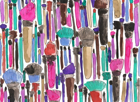 Makeup Brushes Pen and Watercolor Painting