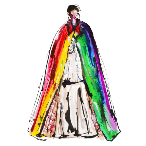 Rainbow Jacket Girl Watercolor Painting