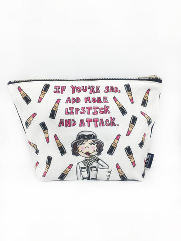 Coco Lipstick Quote T Bottom Cosmetic Bag
