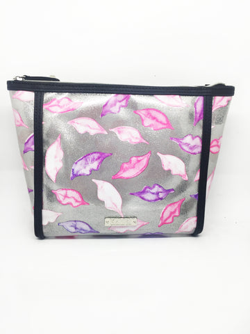 Lips Glitter Vinyl Large Cosmetic Bag