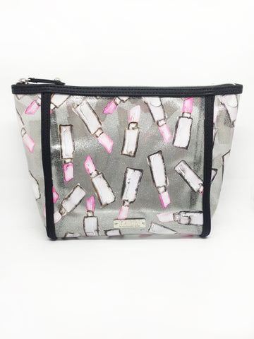 Lipstick Glitter Vinyl Large Cosmetic Bag