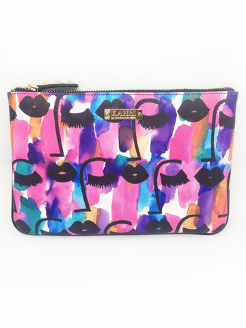 Sleepy Face Saffiano Pouch