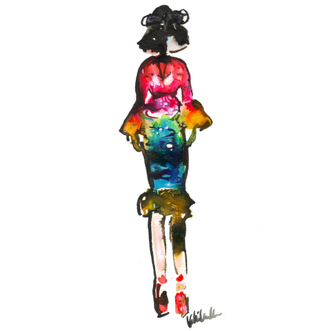 Rainbow Couture Girl Watercolor Painting