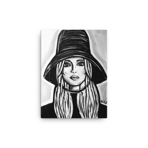 Black and White Hat Girl Canvas Print