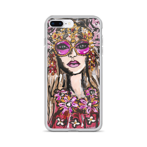 Feather Glasses Girl iPhone Case
