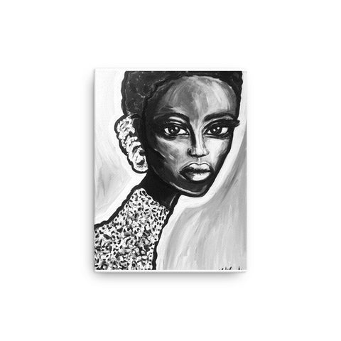Black and White Earring Girl Canvas Print