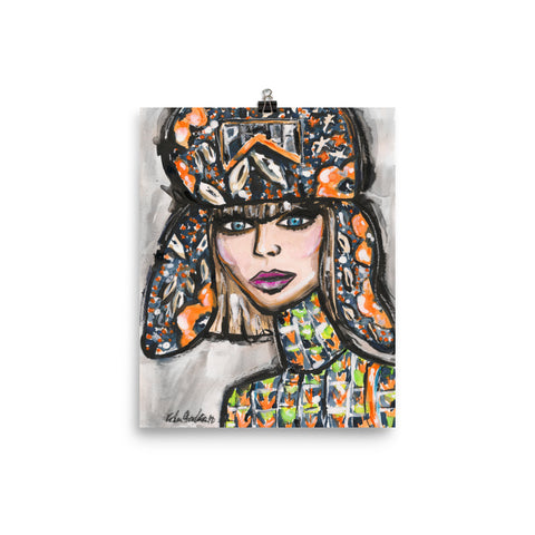 Flap Hat Girl Art Print