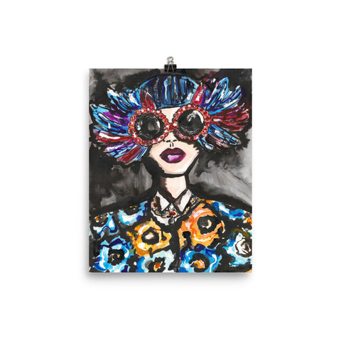 Blue Feather Glasses Girl Art Print