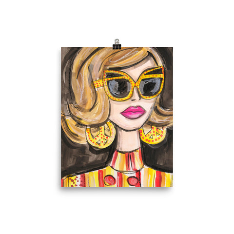 Yellow Glasses Girl Art Print