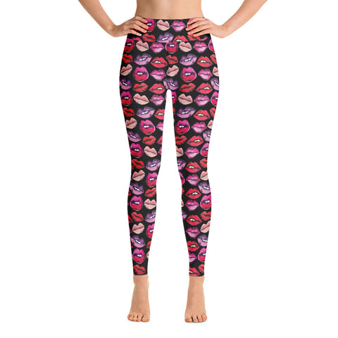 Black Lips Yoga Leggings