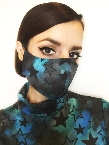 Star Print Face Mask with Filter Pocket