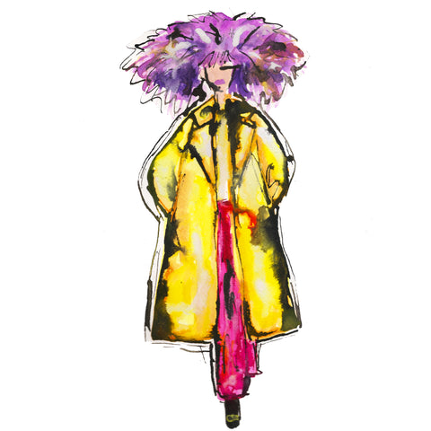 Purple Feather Hat Girl Watercolor Painting