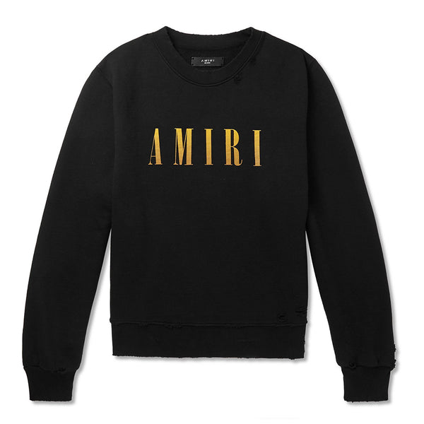 Amiri Distressed Logo Crewneck Sweater - Rare Fashion