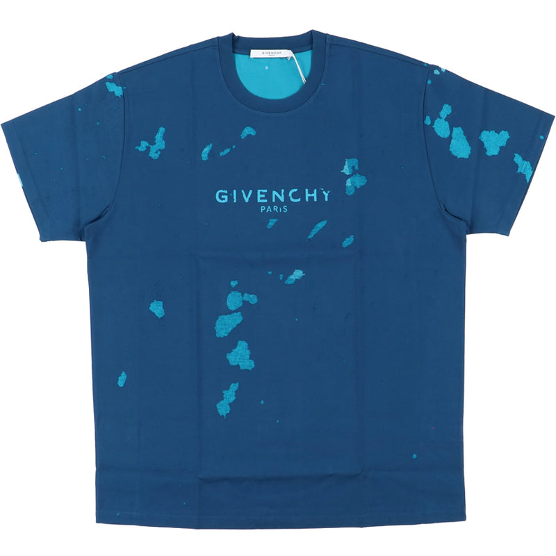 Givenchy Blue Destroyed Blurred Logo T-Shirt - Rare Fashion