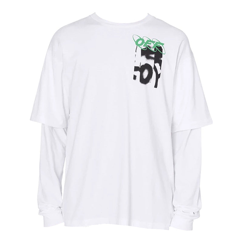 Off White Spray Blurred Doublesleeve - Rare Fashion