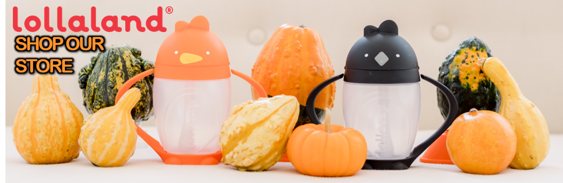 Two weighted straw sippy cups with Fall decorations