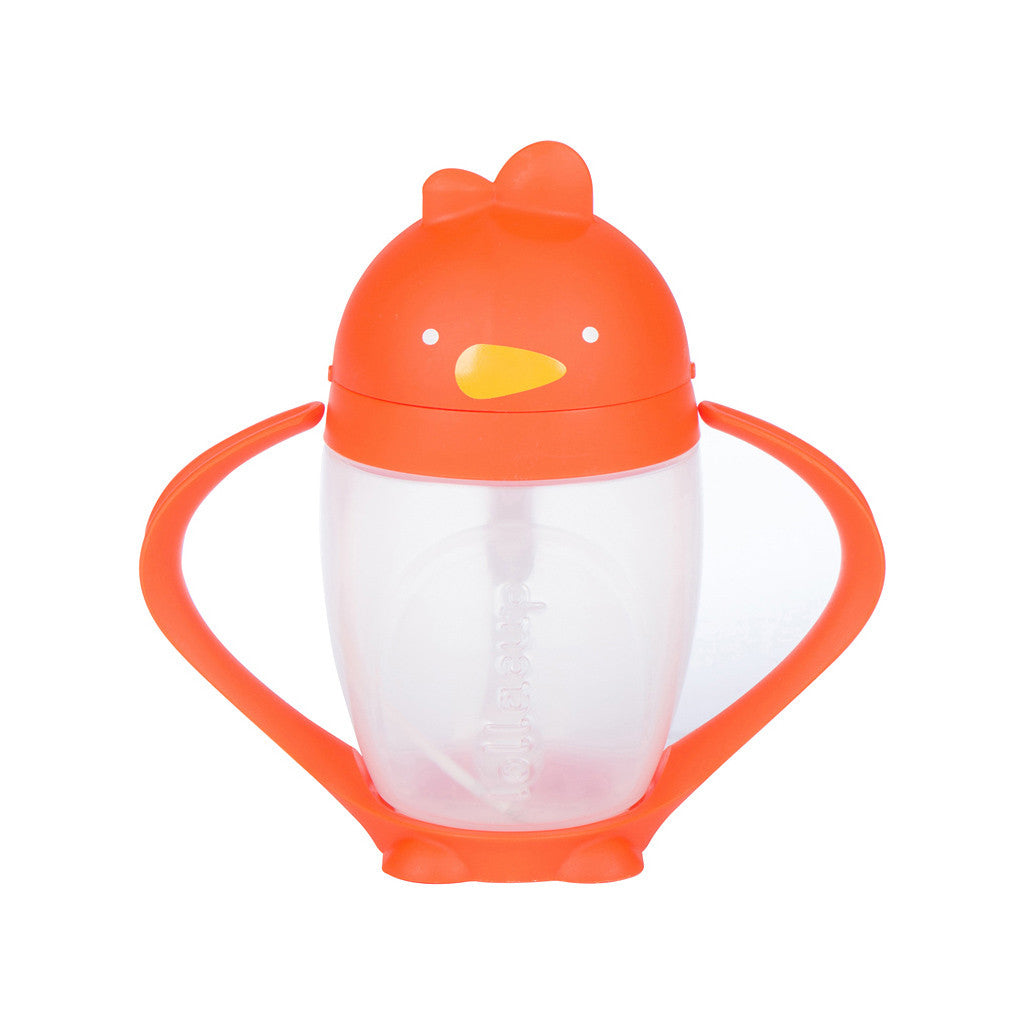 Orange Sippy Cup with Weighted Straw