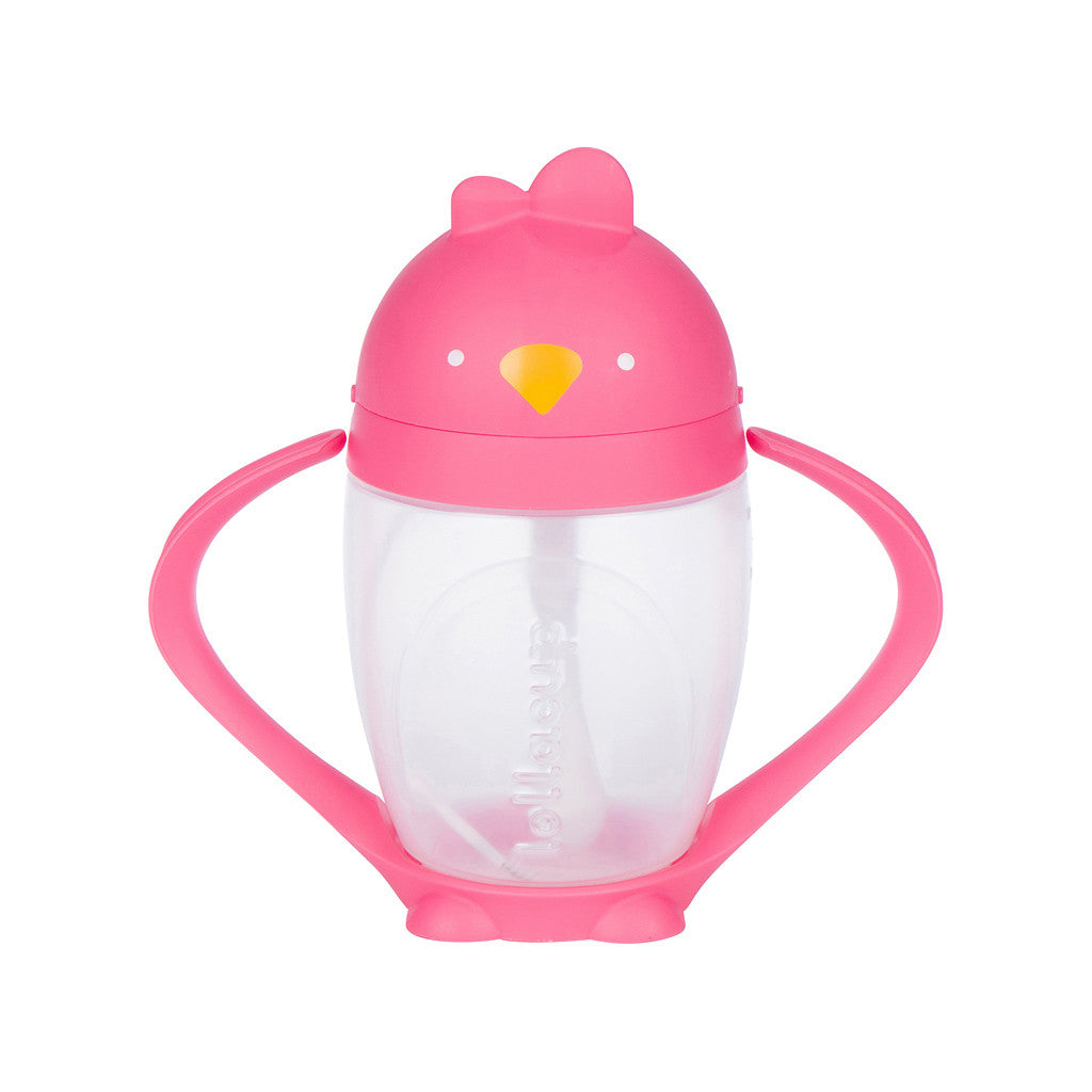 Pink Sippy Cup with Weighted Straw