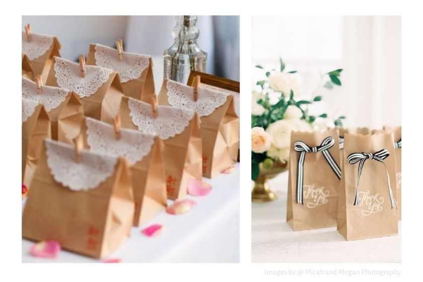 gift warp with paper gift bags wedding favors