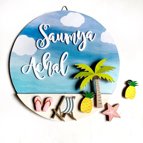 Nameplate - Beach Vibes Circular (Couple)