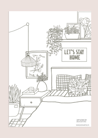 Colour-In Page - Bedroom