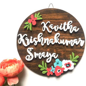 Nameplate - Floral Circular (Couple)