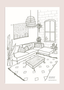 Colour-In Page - Living Room