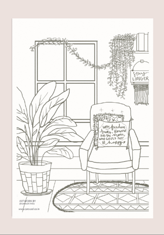 Colour-In Page - Reading Nook