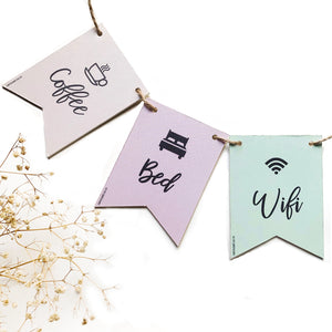 Bunting Set - Coffee Bed Wifi
