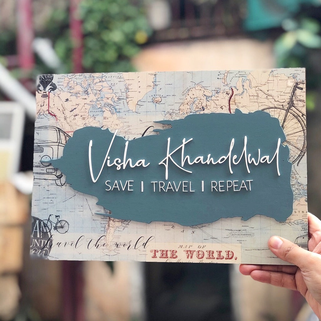 Nameplate - World Map Save Travel Repeat