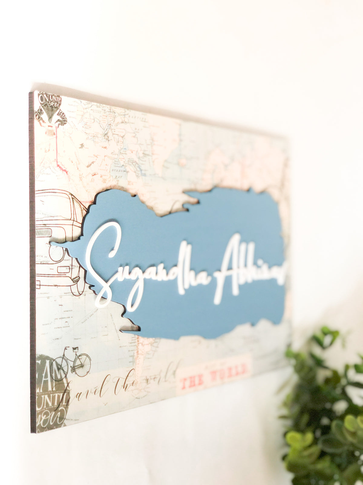 Nameplate - World Map (Couple)