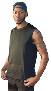 Men's attached front panel, sleeveless shirt, various colors