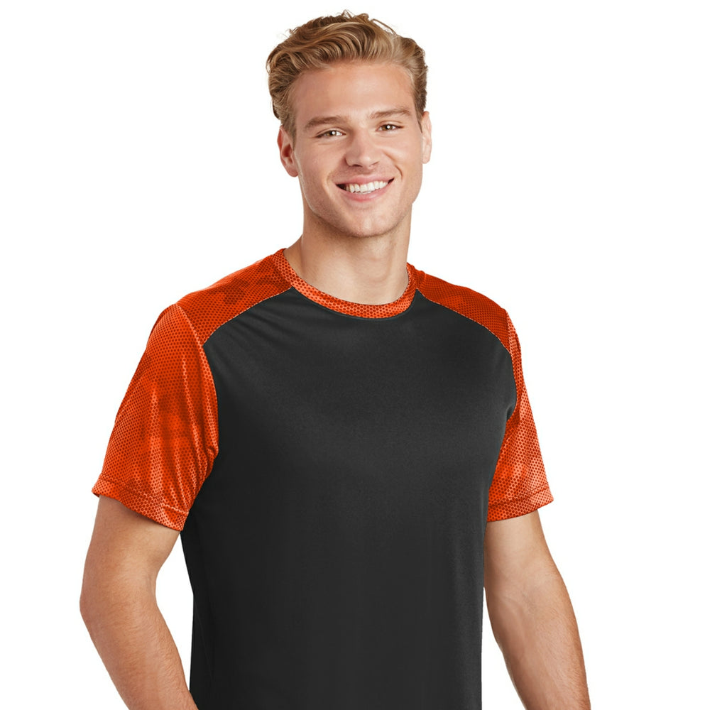 attached front panel camohex colorblock tee Black/Orange Camohex