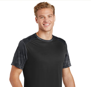 attached front panel camohex colorblock tee Black/Iron Gray Camohex