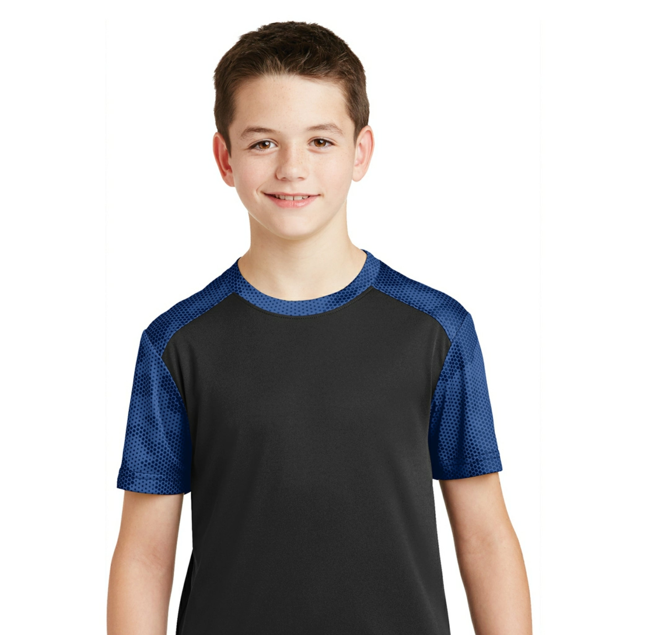 attached front panel camohex colorblock children's tee Black/Blue Camohex