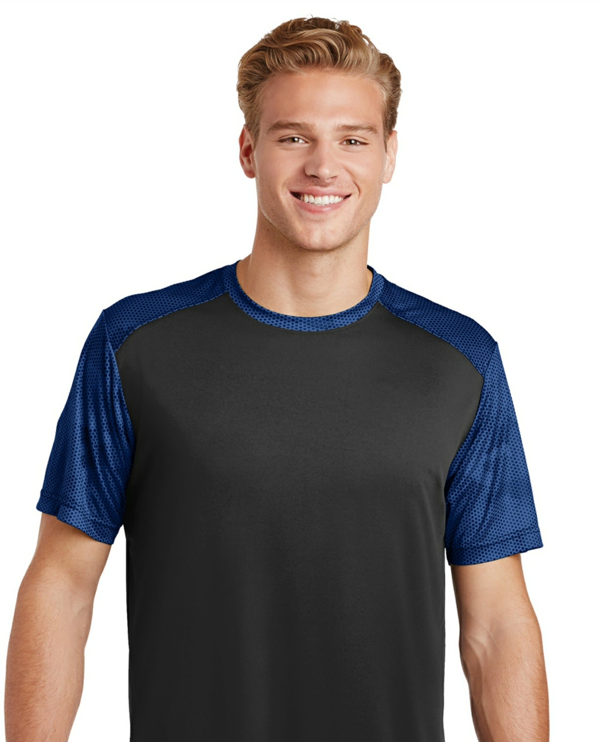 attached front panel camohex colorblock tee Black/Blue Camohex