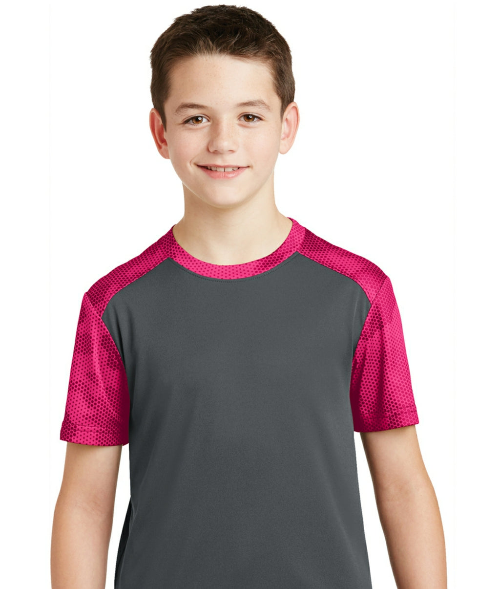 attached front panel camohex colorblock children's tee Gray/Pink Raspberry