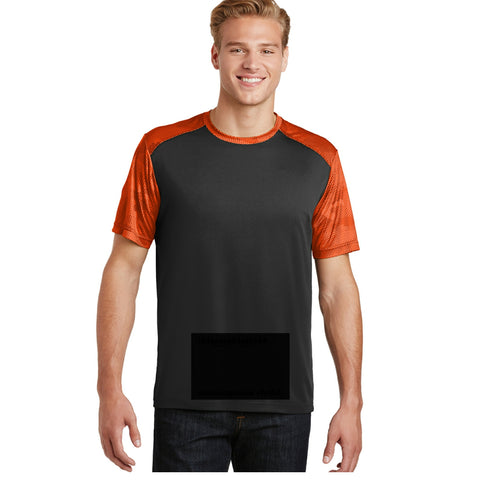 attached front panel, camohex tee, black/orange