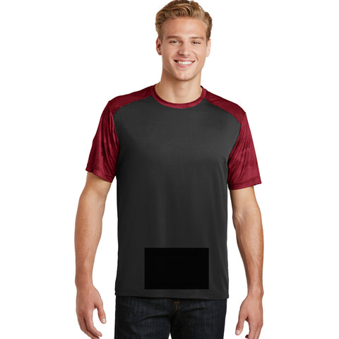 attached front panel, camohex tee, black/deep red
