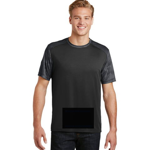 attached front panel, camohex tee, black/iron gray