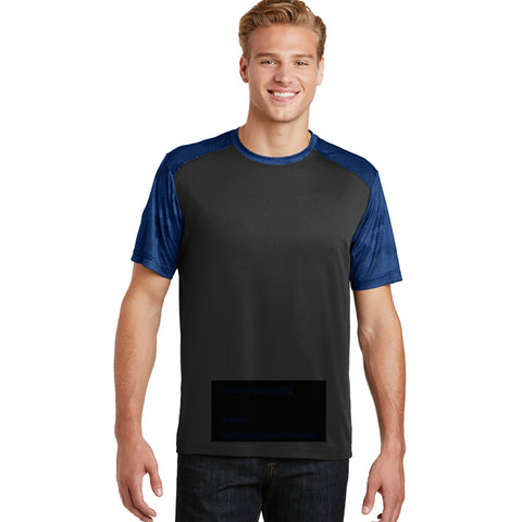 attached front panel, camohex tee black/blue