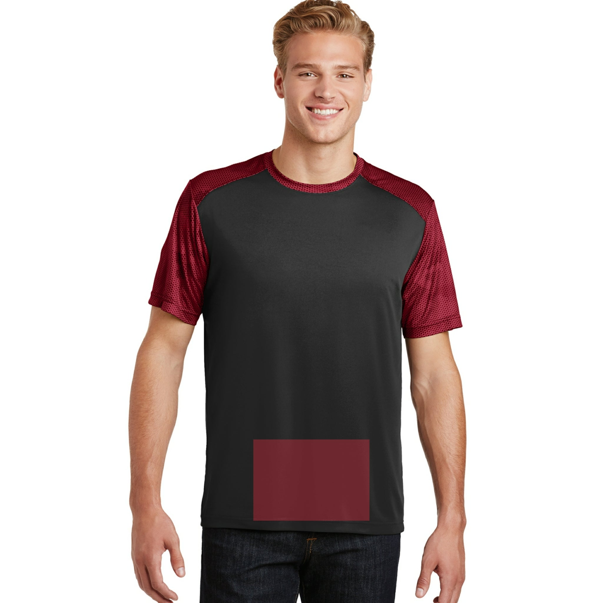 attached front panel camohex colorblock tee Black/Deep Red Camohex