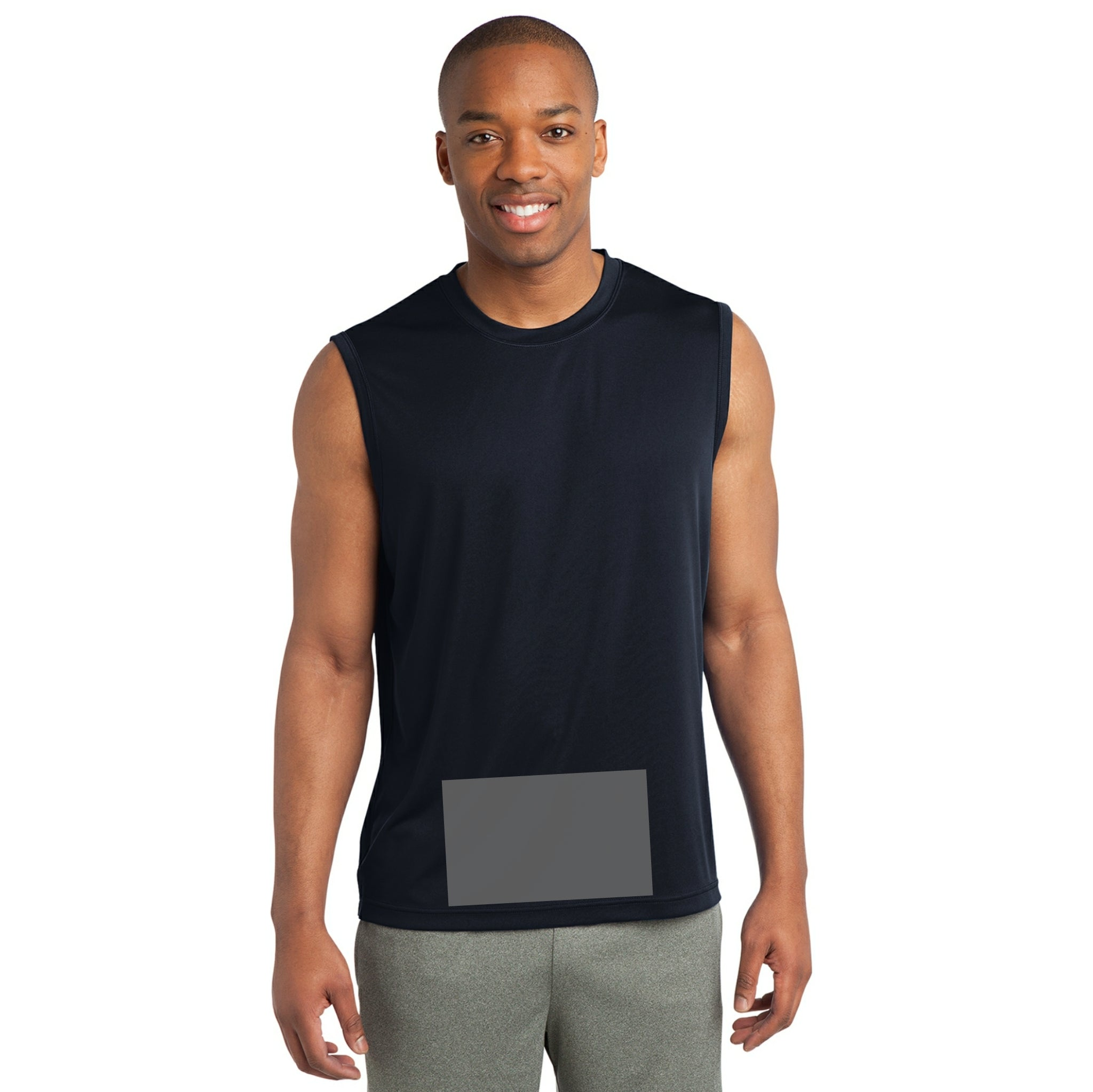 attached front panel solid color sleeveless tee Navy Blue