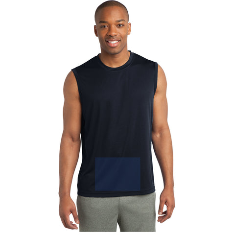 attached front panel, navy blue sleeveless tee