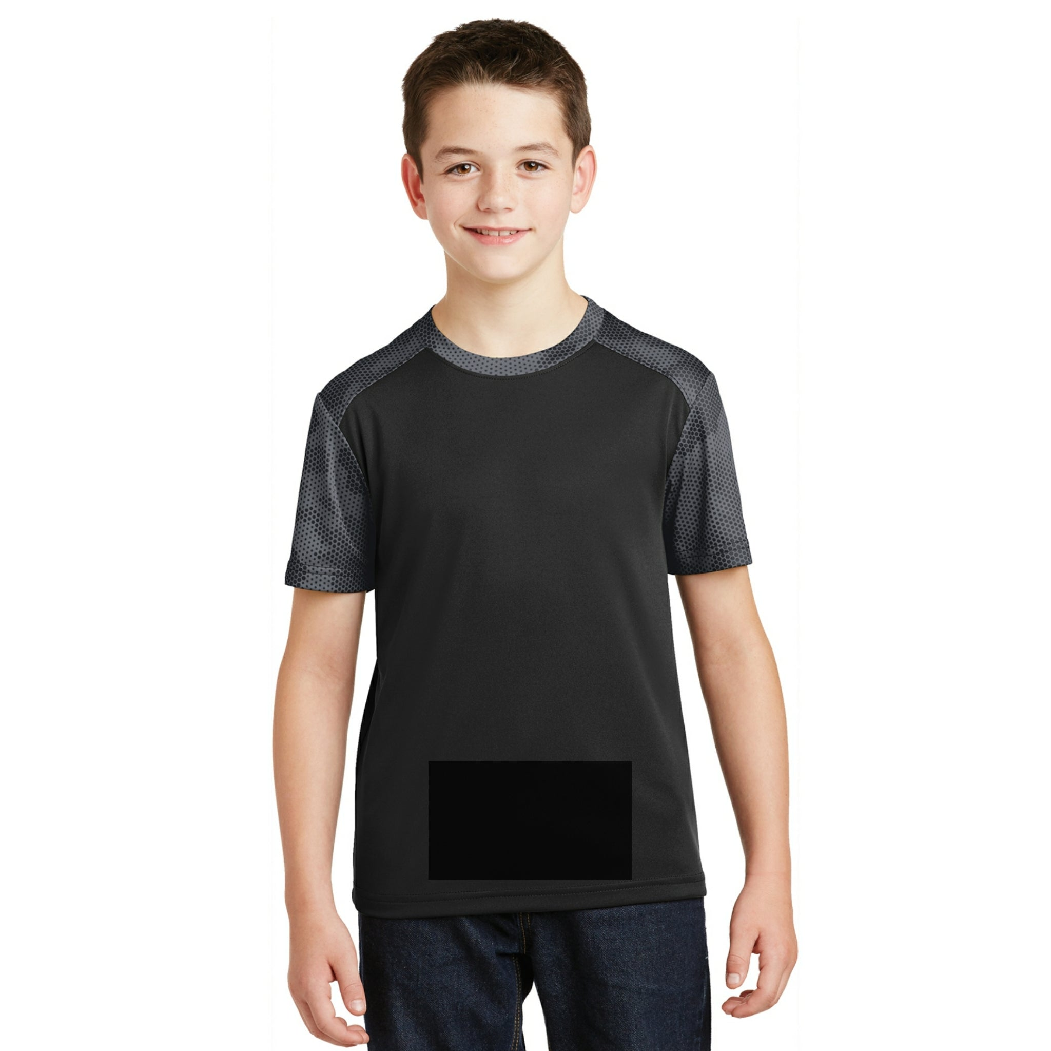 attached front panel camohex colorblock children's tee Black/Iron Gray Camohex