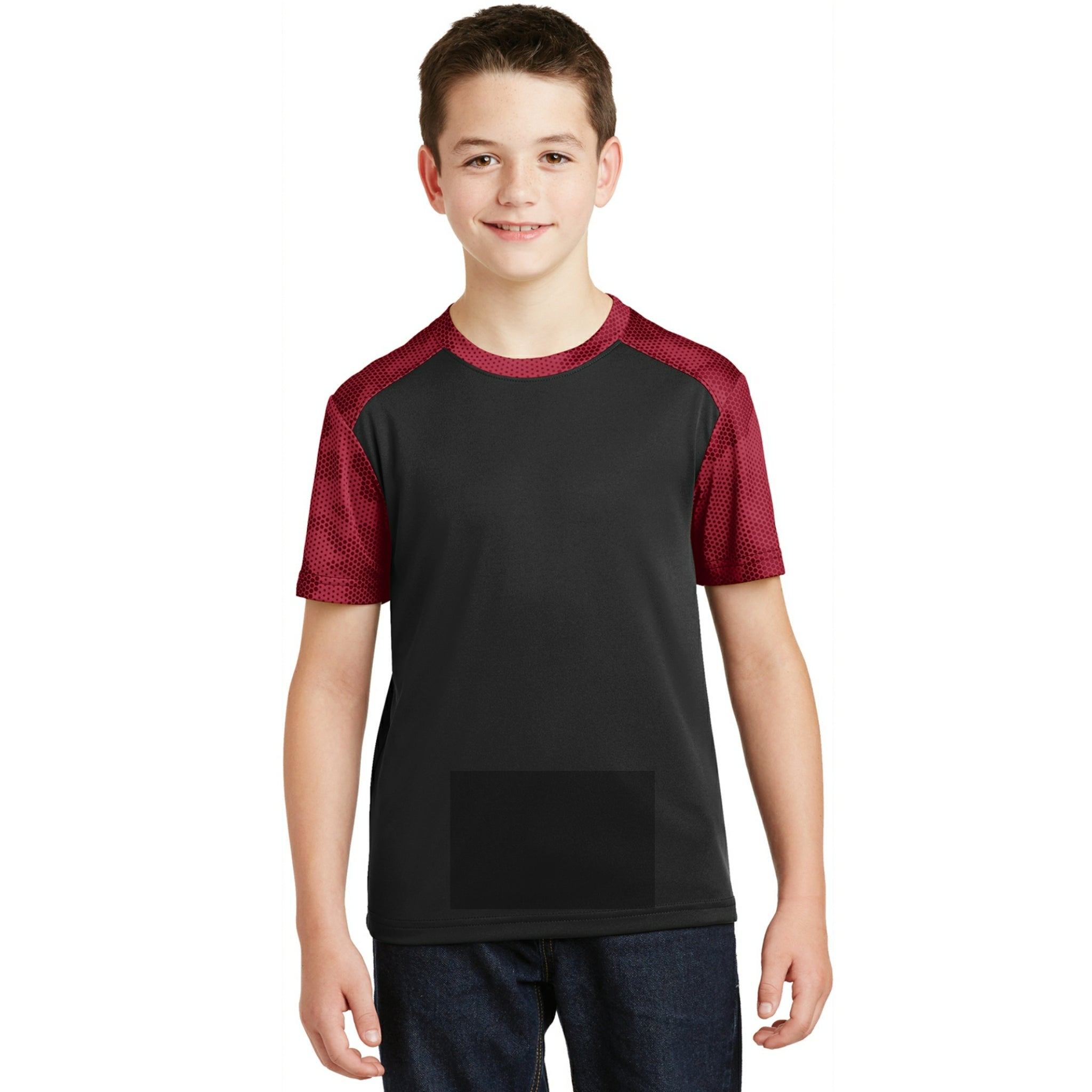 attached front panel camohex colorblock children's tee Black/Deep Red Camohex